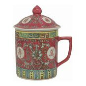 Mug With Lid (Oriental Red Pattern)