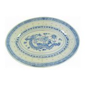 20cm Oval Dish (Rice Pattern) (8寸米通長碟)
