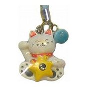 White Lucky Cat Phone Accessory