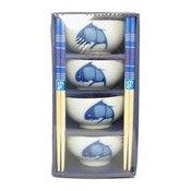 8pc Gift Set (Fish Pattern) (藍魚碗筷套禮包)