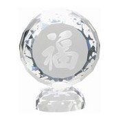 Facet Round Crystal Stand With Happiness Character