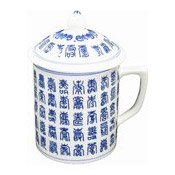 Mug With Lid (Blue Chinese Characters) (藍百壽茶杯連蓋)