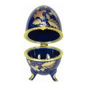 Blue Ceramic Egg Trinket Box