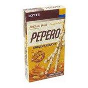 Pepero Golden Crunchy (Peanut & Pretzel) (樂天花生巧克力條)