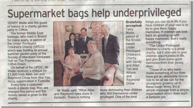Supermarket Bags Help Underprivileged